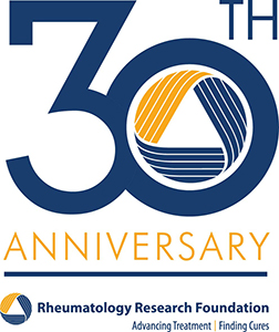 Rheumatology Research Foundation 30th anniversary logo.