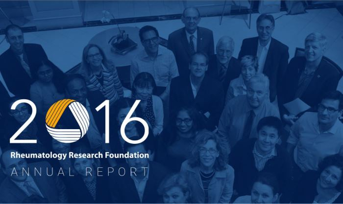 2016 Rheumatology Research Foundation Annual Report Cover