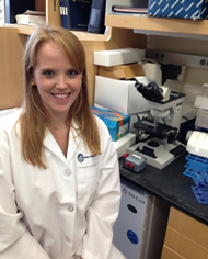 Foundation funded rheumatologist Dr. Lauren Henderson in her lab.