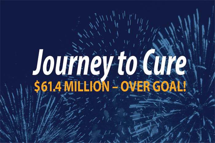 A graphic with fireworks and text celebrating Journey to Cure $61.4 million over goal!