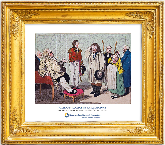 "2017 Annual Framed Gout Print ""Princely"" is a vintage symbol of rheumatology research and training support."