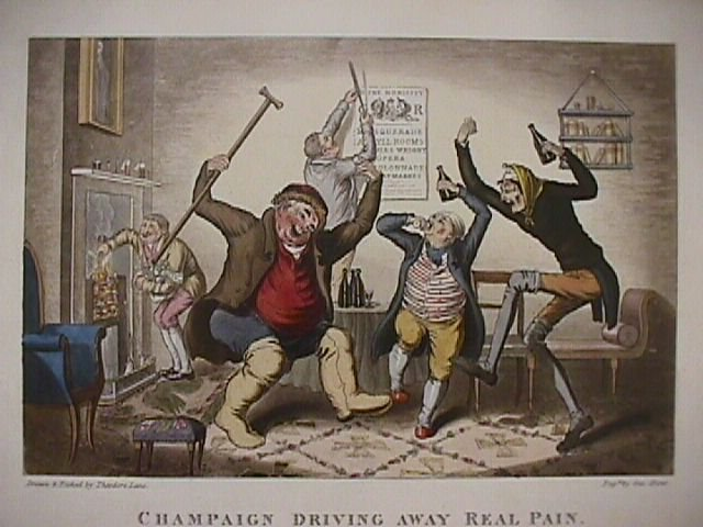 "1995 Annual Gout Print ""Champaign Driving Away Real Pain."""